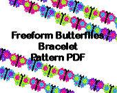 Beaded Butterfly Freeform Free Form Bracelet PDF Pattern Peyote Brick