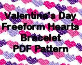 Valentine's Day Freeform Free Form Hearts Bracelet Pattern Digital File Brick Stitch Peyote Plus FREE BONUS PATTERN